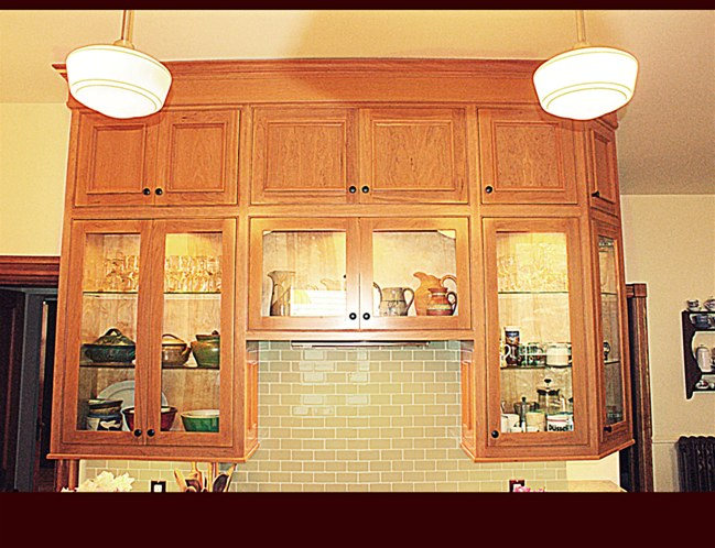 Custom kitchen cabinets islands butler 39 s pantry bethlehem for Cherry kitchen cabinets with glass doors